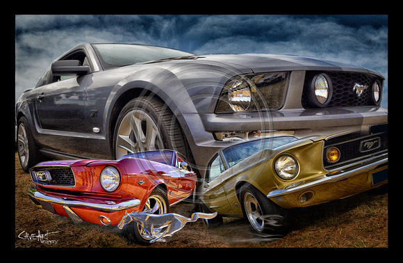 Ford Mustang trio wall art poster
