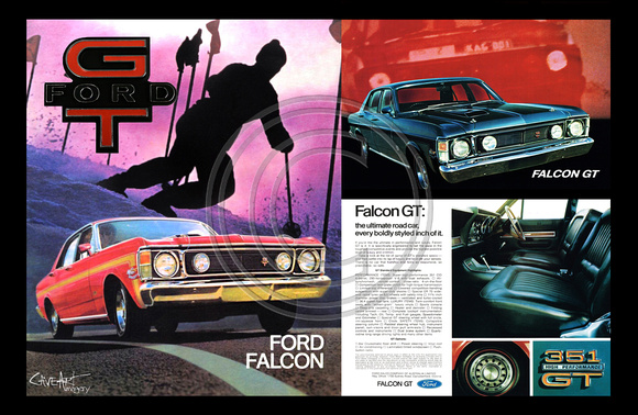 Ford Falcon XW GT wall art poster (landscape)